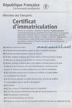 Certificat d'imamtriculation